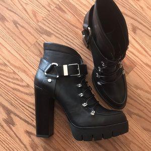 NWOT- Heeled Platform Ankle Boots